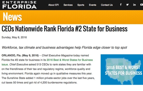 CEOs Rank Florida #2 Best State for Business (Enterprise Florida)