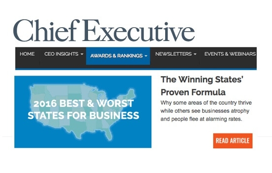 2016 Best States for Business (Chief Executive)